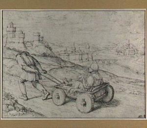 Heuvellandschap met een boer die een gewonde man op een kar voorttrekt