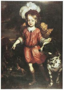 Portret van Leopold van Anhalt-Dessau (1676-1747) met jachthond