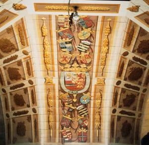 Vier gewelfvelden met wapenschilden van Frederik Hendrik, Amalia van Solms  en van hun voorouders