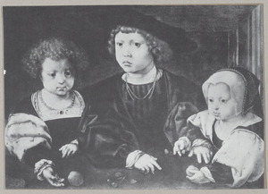Portret van de drie kinderen van Christiaan II van Denemarken (1481-1559)