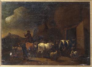 Terugkeer van herders en hun vee naar de stal bij zonsondergang