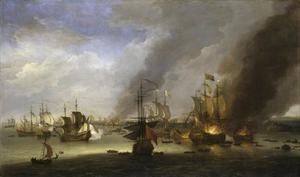 De ondergang van de 'Soleil Royal' in de zeeslag bij La Hougue, 23-24 mei 1692