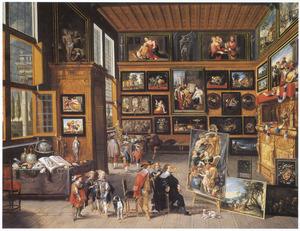 Kunstkenners op bezoek bij een schilder in zijn atelier