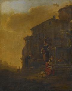 Wasvrouwen bij een fontein in een italianiserend landschap
