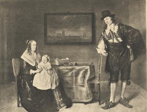 Portret van Matthijs Pompe (1621-1679) en Mondina van Beveren (1622-1652) met hun zoon Michiel Pompe van Slingelandt (1643-1685)