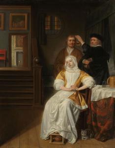 Interieur met een zieke jonge dame en een dokter