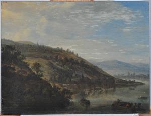 Berglandschap met een stad aan een rivier