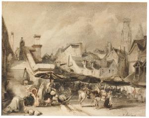 Gezicht op de markt te Rouen