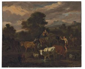 Zuidelijk heuvellandschap met een drijver en zijn kudde en een vrouw op een ossenwagen onderweg