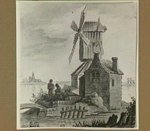 Een windmolen bij een rivier