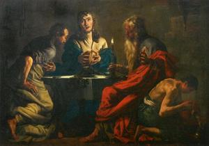 De discipelen herkennen Christus, wanneer Hij het brood breekt te Emmaüs