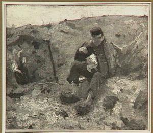 Schaftende landarbeider te Ewijkshoeve