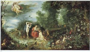 Paradijselijk landschap met een allegorie op de vier elementen
