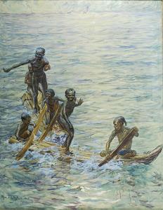 Papua's in een kano