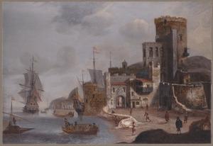 Zuidelijk kustgezicht met een Hollands fregat en andere schepen bij een versterkte stad