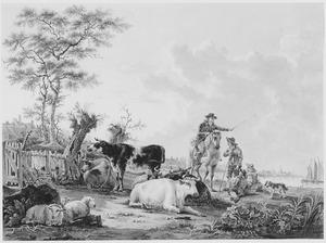 Rivierlandschap met herders, ruiter en vee