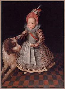Portret van een onbekende jongen met zijn hond