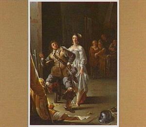 Een soldaat en een courtisane in een wachtlokaal