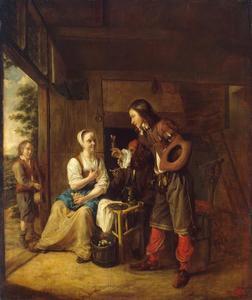 Interieur met een man die een vrouw een glas wijn aanbiedt