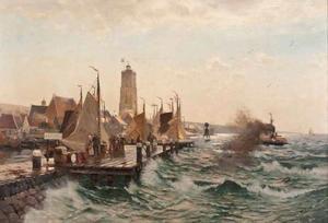 De haven van Terschelling met de Brandaris