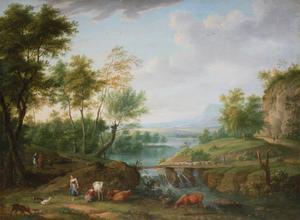 Italianiserend rivierlandschap met herders, ruiters en vee