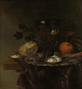 Stilleven met roemer op een zilveren schaal, oesters en
