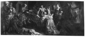 De rechtspraak van Salomo; Salomo beveelt het levende kind te klieven, de ware moeder protesteert (1 Koningen 3:25-27) ; op de achtergrond een gezicht op het Haagse Binnenhof