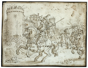 Turnus met zijn leger voor de muren van Troje daagt de Trojanen uit tot de strijd (Vergilius, Aeneis (IX:25-68)
