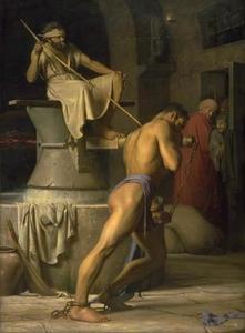 De blinde Simson zwoegend in de tredmolen voor de Filistijnen (Richteren 16:21)
