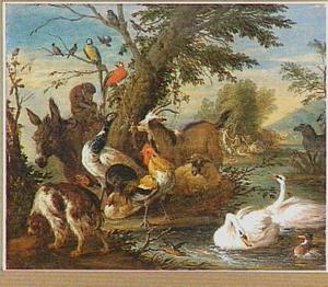 iverse dieren in het aardse paradijs paradijs; op de achtergrond reikt Eva Adam het fruit aan (Genesis 3:6)