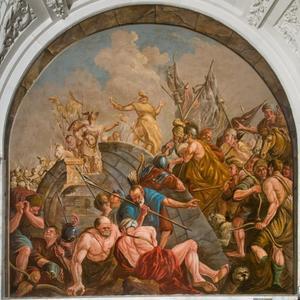 De onderhandelingen tussen Claudius Civilis en Cereallis op de afgebroken brug (Tacitus, Germania)