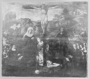 De kruisiging met stichtersportretten