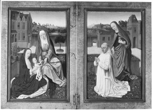 De H. Anna-te-Drieën (links), portret van de stichter met de H. Barbara (?) (rechts)
