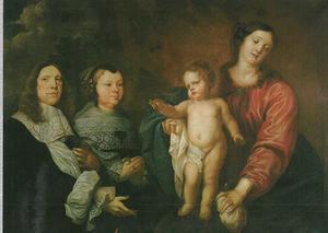 Dubbelportret van een echtpaar, Maria en het kind aanbiddend