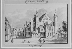 De Ridderzaal op het Binnenhof gezien vanaf de Stadhouderspoort