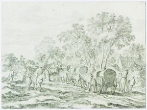 Huifkarren en ruiters op een landweg met bomen