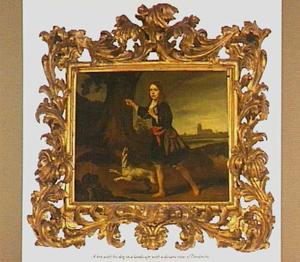 Portret van een onbekende jongen als jager tegen de achtergrond van Dordrecht