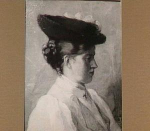 Portret van een vrouw, en profile, met hoed