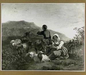 Herders met vee in een zuidelijk landschap