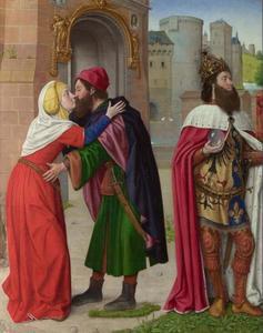Karel de Grote en de ontmoeting van Anna en Joachim bij de gouden poort