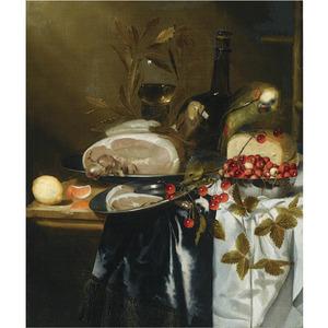 Stilleven met vruchten, ham, kaas, een fles, een roemer en een papegaai