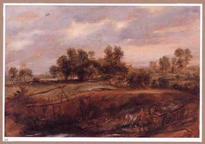 Landschap met boerenkar op een weg