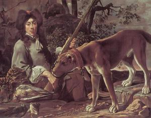 Portret van een rustende jager met zijn hond en jachtbuit