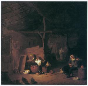 Interieur van een stal, met een boer die het glas heft en een karnende vrouw