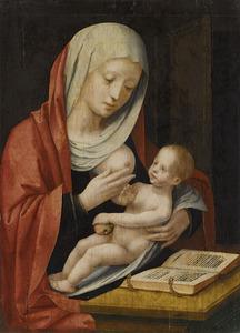 Maria en kind gezeten voor een lessenaar