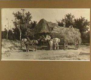 Hooiwagen bij boerderij