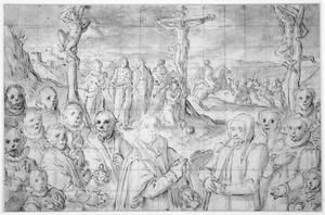 De kruisiging met portret van de stichter en zijn familie