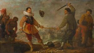 De strijd om de Gouden Stok, allegorie op de overwinning van de Hollandse vloot op de Spaanse, bij Gibraltar op 25 april 1607