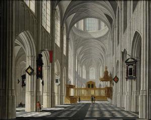 Zicht in het schip van een gotische kerk, met enkele figuren