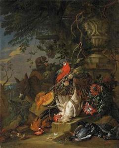 Jachtstilleven met fruit, vogels waaronder een papegaai, een aap en een ezel